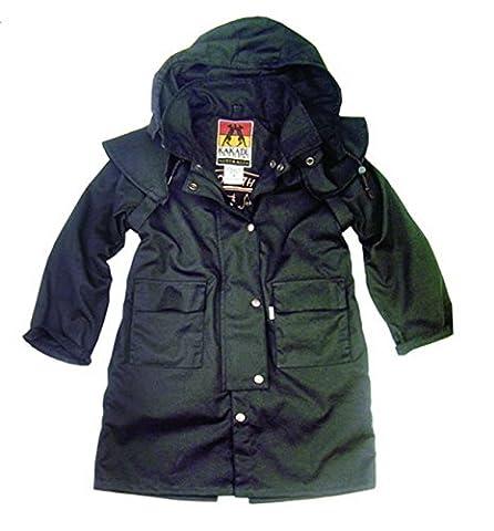 Kinder Drover Oilskin Wachsjacke in schwarz, wasserabweisend und atmungsaktiv von