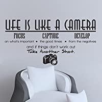 ملصقات جدارية بتصميم كاميرا باللغة الاانجليزية لغرفة المعيشة وغرفة النوم