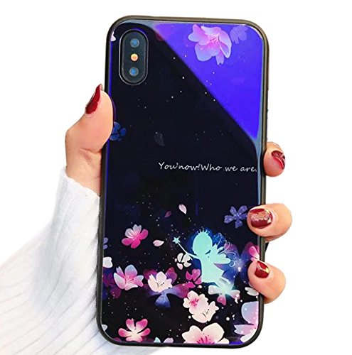 MoreChioce kompatibel mit iPhone X Hülle,kompatibel mit iPhone X Hülle Silikon, Blaues Licht Schmetterlings Blume Muster Glitzer Funkeln Durchsichtig Kristall Flexible Case Bumper,EINWEG (Blaue Blume-lichter)