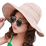 Leisial Sombrero para el Sol de Niños Sombrero de Playa Plegar Protección UV Gorro de Viaje Verano para Unisex Chicos Chicas Caqui