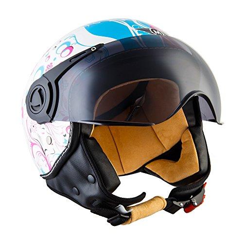 Moto Helmets H44 - Helmet Casco de Moto , Blanco/Flores, M (57-58cm)