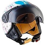 MOTO H44 Flower · Urban Piloto Mofa Vintage Retro Bobber Moto motocicleta Urbano Scooter Helmet Casco Demi-Jet Vespa Biker Cruiser Chopper · ECE certificado · incluyendo parasol · incluyendo bolsa de casco · Blanco · M (57-58cm)