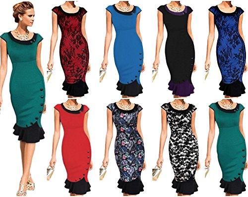 Neue Rockabilly Vintage 50er Jahre Kleid (M - 36, Rot Spitze) -