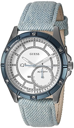 Guess Women's Stainless Steel Connect Fitness Tracker Denim Watch, Color Blue (Model: C2002L4)