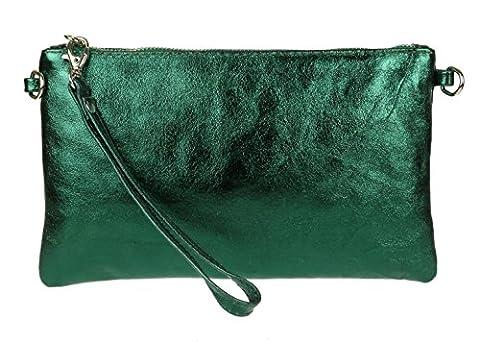 Girly HandBags Genuine Italian Metallic Leather Clutch Bag (Green)