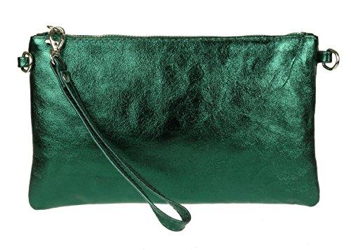 Girly Handbags Echtes italienisches Metallic-Leder Clutch Bag - Grün Leder-clutch