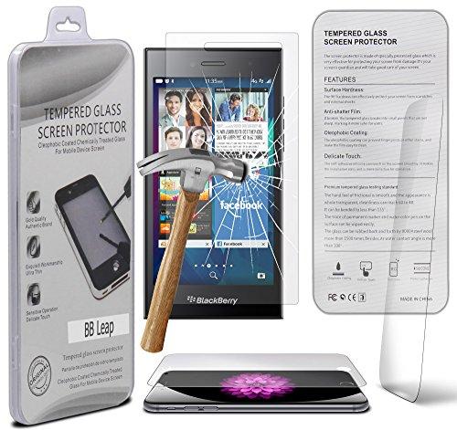 BlackBerry Leap 0.33mm Premium Premium Tempered Glass Screen Protector Hartglas-Schutzcover - Explosions- & Splittersicher mit Microfasertuch von Gadget Giant®