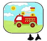 wolga-kreativ 2 Stück Auto SonnenSchutz SonnenBlende Junge Feuerwehr Auto für Baby und Kind Autofenster Sonnenschutz (Doppelpack)