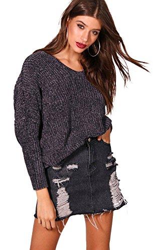Damen Holzkohle Lana Oversize-Pullover mit Rücken in Chenille-Optik und V-Ausschnitt - M-L (Chenille V-ausschnitt Mit Pullover)