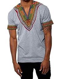 Yvelands Makerda Printed Printed T-Shirt Personalidad de los Hombres Personalidad Moda V-Cuello