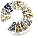 S.A.V.I 1 Pc. DIY 3D Nail Art Manicure Decoration Wheel Acrylic Crystal Glitter Rhinestones - 12 Styles (1), Multicolor, 4 g