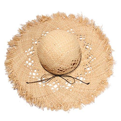 VORCOOL Sombrero de Paja de Verano Sombrero de ala Ancha Protección UV Sombreros para el Sol Gorro de Playa