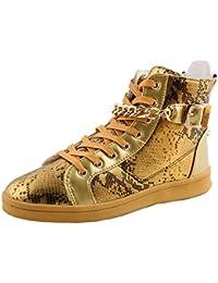 imayson (TM) Hombres Casual High Top Sneaker Cremallera Moderno Calavera Slip On Zapatos de