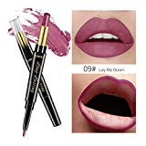 QIBEST Double-end Dauerhafter Lipliner-wasserdichter Lip Liner-Stick Pencil Lipstick I Malloom Doppelköpfiger Lippenstift Feuchtigkeitsspendender matter Lippenstift + Lippenstift 15 Farben