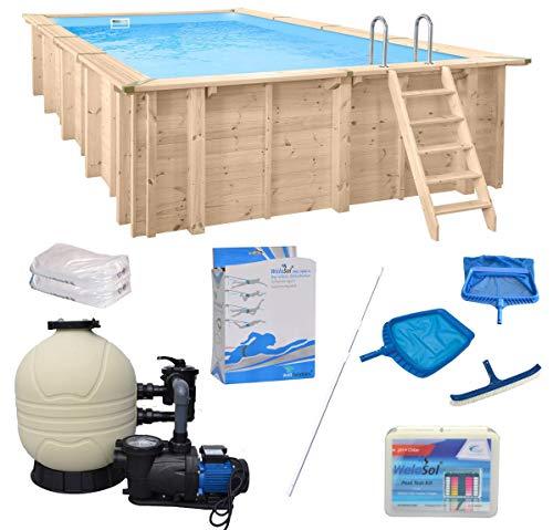 WelaSol Holz Pool Bali Rechteck 7,90 x 4,00 x 1,38 m Technikset   Aufstellpool oder Einbaupool   mit Technik, Filteranlage und Zubehör