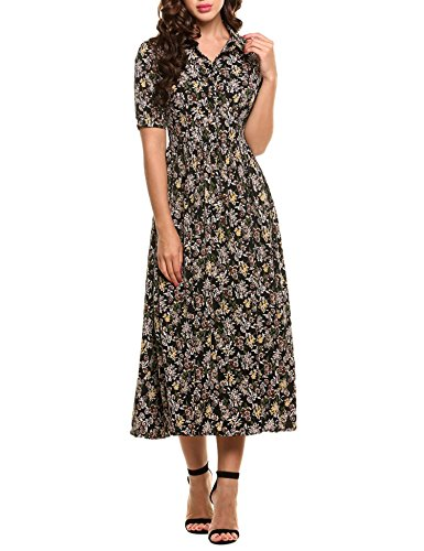 ACEVOG Women's Vintage Style Peter Pan Collar Short Sleeve Floral Print Long Maxi Dress