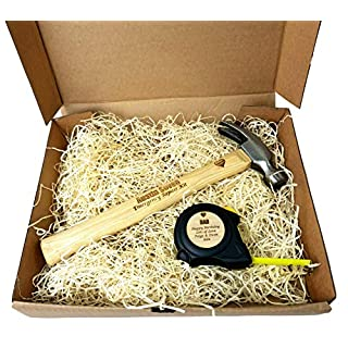 Personalisiertes Maßband mit Hammer und Maßband, Vatertagsgeschenk, in Geschenkbox