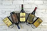 Livitat® Wandregal Wein Weinregal Flaschenregal Metall Used Look Vintage LV5011 (5 Flaschen)