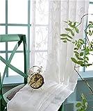 von Bside mit Reißverschluss in Foliage Embroidered Vorhänge, lockerer Stil auf Voile draperies Home Dekoration für Esszimmer, Schlafzimmer Kinderzimmer (1W, L 52x 82cm, Weiß, Polyester-Mischgewebe, weiß, 52W x 84L Inch, 1 Panel