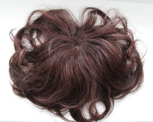 PRETTSHOP 100% ECHTHAAR humanhair Toupet Haarverdichtung Pony Haarteil Clip in Extensions Diverse Farben (rötige braun mix H1103_2/33)