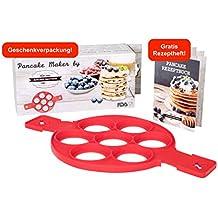 Premium Pancake Maker, Pfannkuchen Form, Silikon Küchenhelfer, mit GRATIS Rezeptheft, 100% BPA frei, FDA geprüft