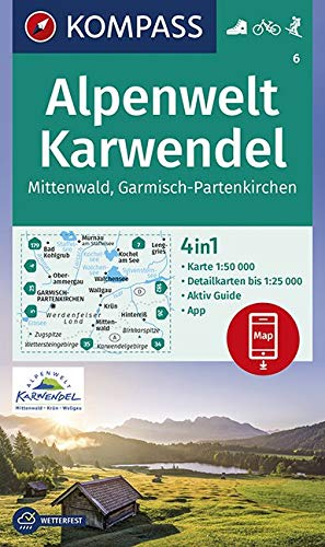 KOMPASS Wanderkarte Alpenwelt Karwendel Mittenwald, Garmisch-Partenkirchen: 4in1 Wanderkarte 1:50000 mit Aktiv Guide und Detailkarten inklusive Karte ... Skitouren. (KOMPASS-Wanderkarten, Band 6)