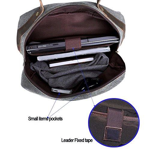Canvas Rucksack, P.KU.VDSL 15″ Laptoprucksack Vintage Canvas und Leder Schultasche Reisetasche Daypacks Uni Backpack für Outdoor Sports Freizeit (Grau, Laptoprucksack) - 6