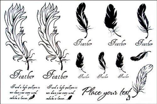 Autocollant plumes Mode tatouage temporaire étanches modèles féminins en noir et blanc totem tatouage