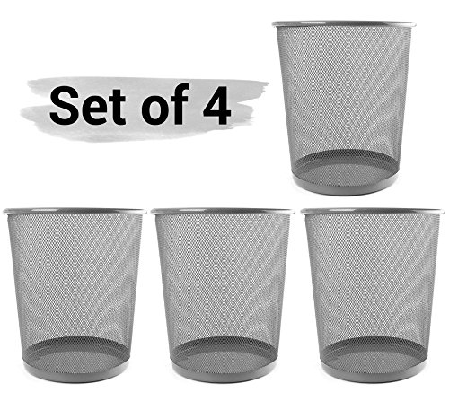 TIED RIBBONS Metal Mesh Dustbin for Office, School, Bedroom, Kids Room, Home Purpose(Set of 4, Grey,Metal Mesh)