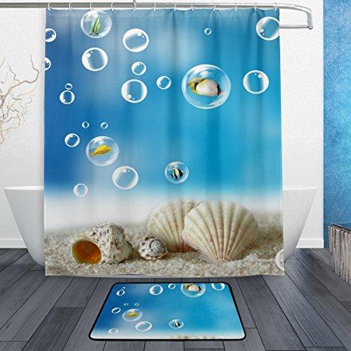 jstel blau Strand Muscheln Ocean Blister 3-teiliges Badezimmer Set, maschinenwaschbar für den täglichen Gebrauch, inkl. 152,4x 182,9cm Wasserdicht Duschvorhang, 12Dusche Haken und 1rutschfeste Badezimmer Teppich CARPE Ocean Bad-accessoires