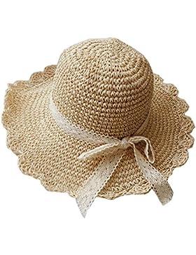 Sombrero De Ala Ancha De Paja Sombrero De Playa De Verano Bowknot De Encaje Sombrero Para Mujer Beige