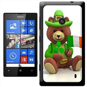 Fancy A Snuggle Orsetto San Patrizio Irlandese Bandiera e trifoglio 'clip on Custodia rigida Cover Posteriore Per Nokia Lumia 520