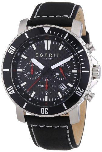Esprit Barstow Men's Quartz Watch with Black Dial Chronograph Display and Black Leather Strap ES106861001