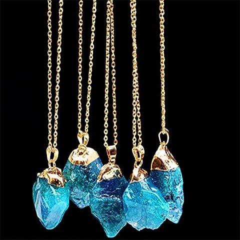 Chinget Natürliche Halsketten Unregelmäßige Form Amethyst Kristall Anhänger Quarz Halskette für Frauen Männer (Farbe 4)