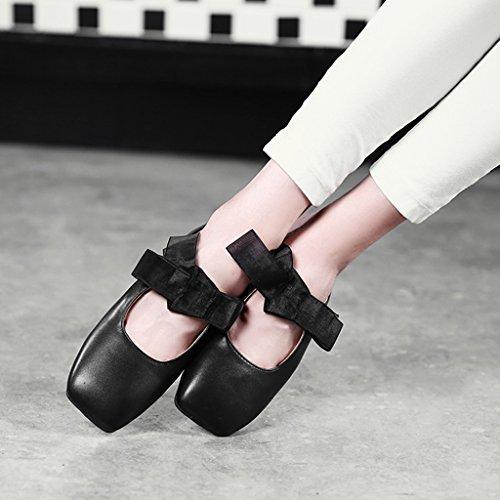 casual 39 pantofole Primavera retrò mezze Marrone singolo donna scarpe HWF Nero femminile Scarpe pigri bocca superficiale donna Colore dimensioni piatto scarpe xXgwEHqO
