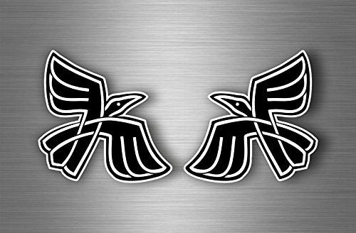 Akacha 2X Aufkleber Sticker Rabe Raben Viking Odin Wikinger krähe Motorrad Auto r1 -