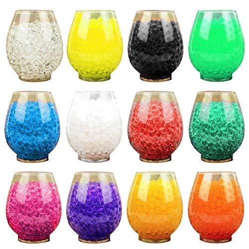 flybuild 12er Pack Multicolor Wasser absorbieren Kugeln Soilless Pflanzenvasen Jelly Mud Beads Einfach zu verwendender Garden Decor Zufällige Farbe (Jelly Ball Dekor)
