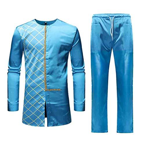 Amphia - Herren Herbst Winter Luxus afrikanischen Print Langarm Dashiki Hemd Anzug - Lässige Ethno-Druck-Langarm-Set für Herren