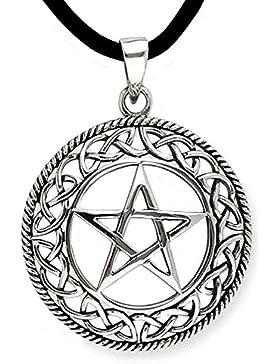 Anhänger Pentagramm mit keltischem Flechtwerk 925er Silber Schmuck mit Lederband Schmucksäckchen und Karte - Schutzamulett...