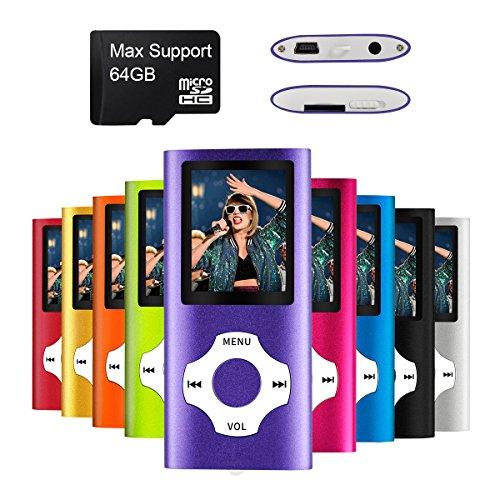 Mymahdi MP3/MP4-Player, lila mit 1,8-Zoll-LCD-Bildschirm und Micro SDHC-Karten-Slot, Support für Max 128GB Micro SD TF Karte