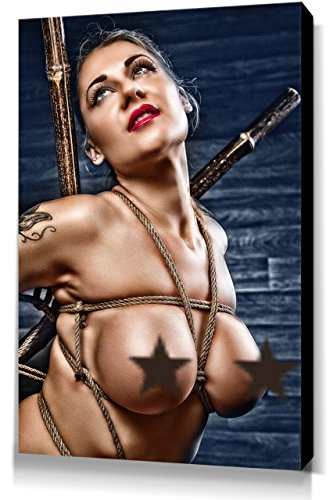 Nude Portrait - Leinwand Bild 60x40cm, Fine Art of Bondage, sexy erotik fetisch BDSM Kunstdruck Wandbild auf Keilrahmen, erotische Wand-Dekoration mit Girls und Seilen