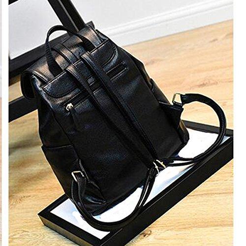 Women Fashion College PU Borsa Da Viaggio Zaino Sacchetto Di Spalla Laptop Daypack Multicolor Black