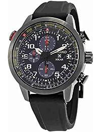 Seiko Solar SSC371 Reloj de pulsera digital para hombre, con cronógrafo, correa de silicona con baño de iones y esfera analógica, color negro