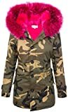 Damen Camouflage Winter Jacke Kunstpelzfutter Army-Look Kapuze XXL-Kunstfell D-339 [EF-1613 Fuchsia S]