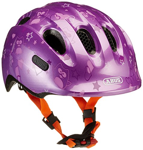 Abus Mädchen Smiley 2.0 Fahrradhelm, Purple Star, 50-55 cm
