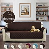 H.Versailtex Luxury Waterproof Sofa Cover Couch Covers for Dogs Furniture Covers for Pets, Premium Elastic Straps Stay in Place, Reversible Slip Resistant Sofa Slipcover Protector, 66'' x 75'' Brown