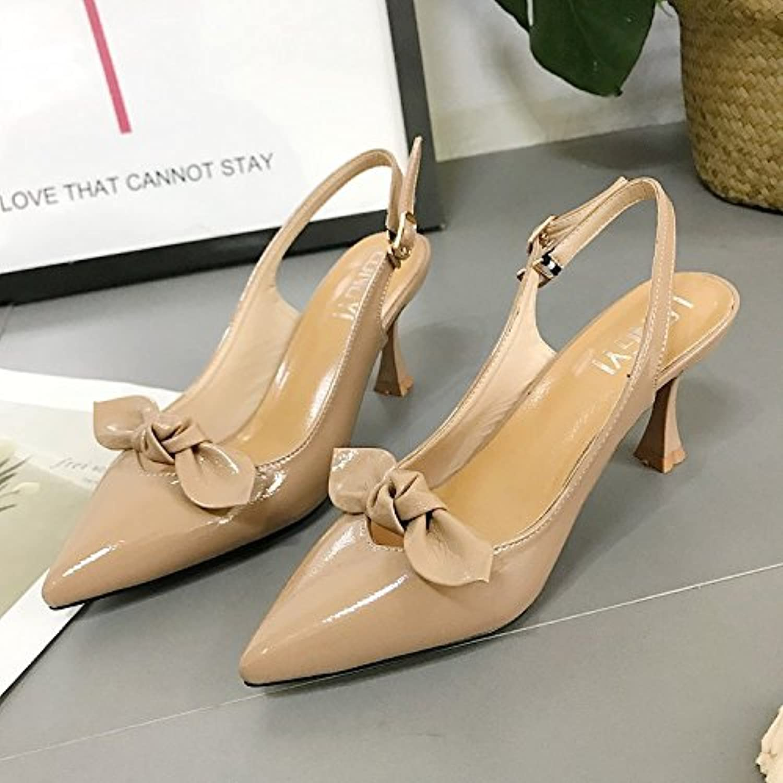 Zapatos de mujer, punta fina High-Heeled para atrapar a la moda, Beige 36