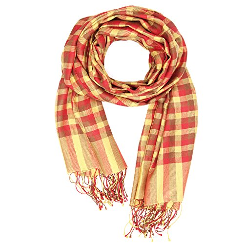 KASHFAB Kashmir Damen Sommer Mode Schecks Schal, Seide stole, Weich Lange Schal, Stilvoll Paschmina Rot Gelb (Maulbeere-seide-stoff)