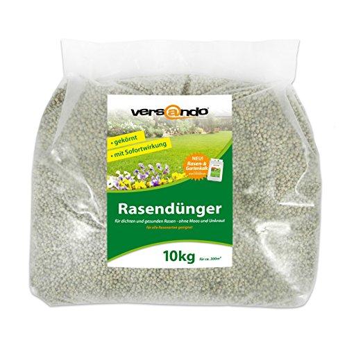 Versando Rasendünger 10 Kg für ca. 300m² sattgrünen Rasen, ganzjährig - ohne Moos und Unkraut, NPK-Dünger mit Sofortwirkung