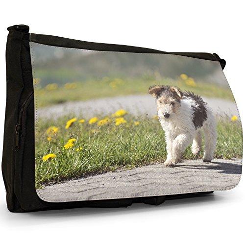 Fancy A Bag Borsa Messenger nero Samoyed Dog Fox Terrier Dog Walking